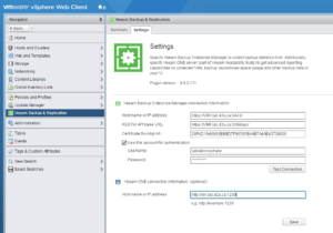 Setting up Veeam ONE in the web client plug-in