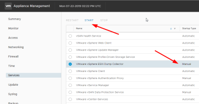 Starting the ESXi Dump Collector service