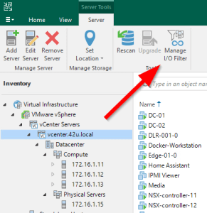 Veeam Manage IO Filters