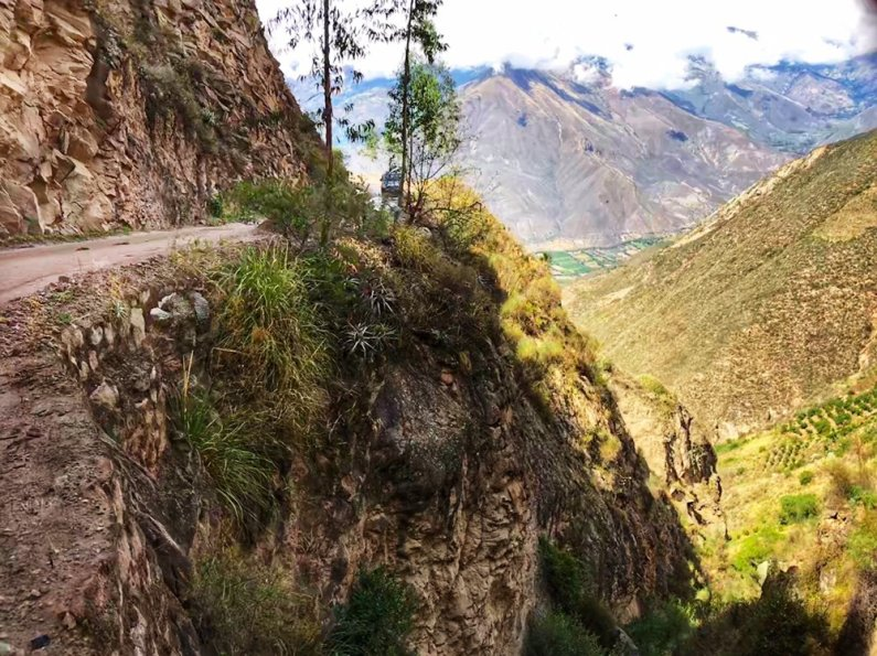 The Road to Caraz and steep cliff after the Santa Cruz Trek