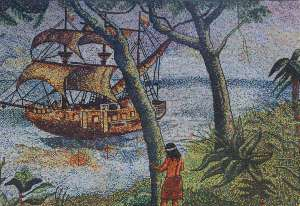 Mural depicting Peru History with ship
