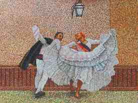 Mural depicting Peru History dancing
