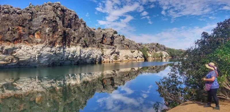 The cliff reflecting on the Fitzroy River in Western Australia