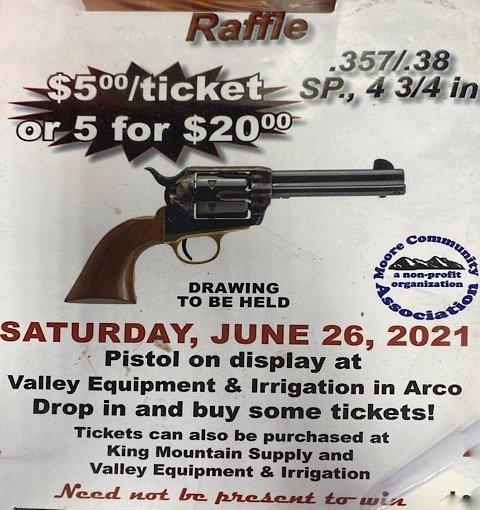 Sign for a Pistol Raffel in Idaho