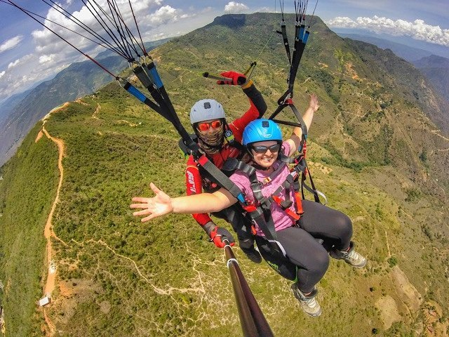 Paragliding over Chicamocha Canyon in Colombia