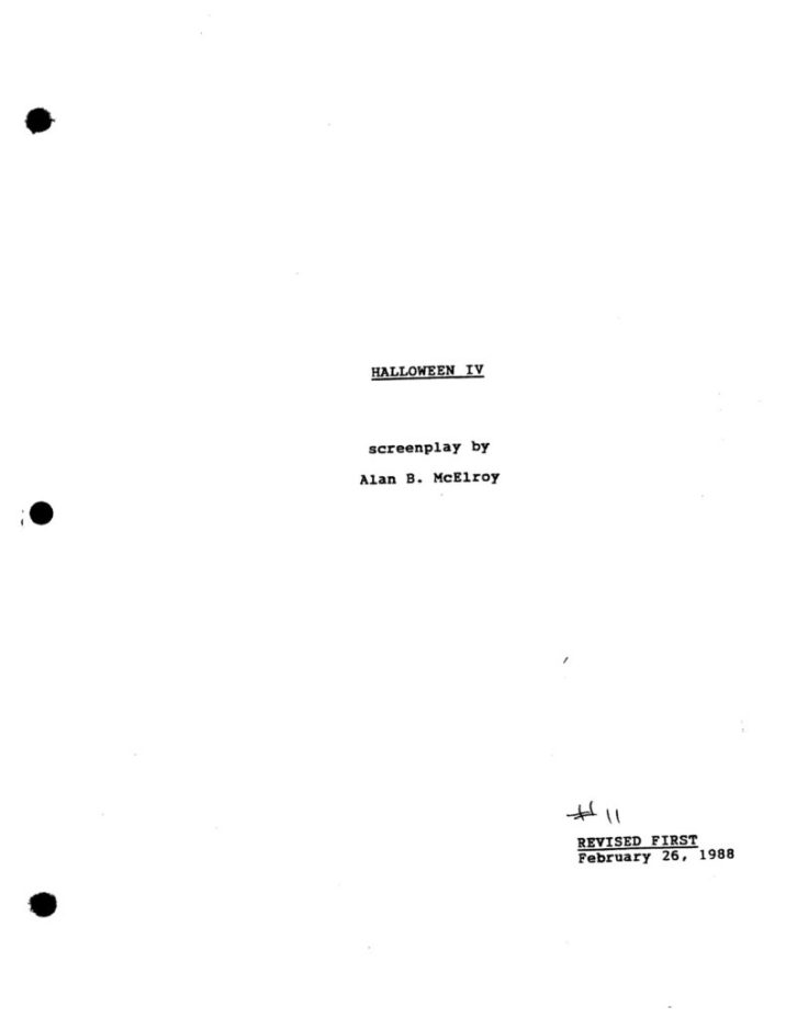 Halloween 4: The Return of Michael Myers (1988) - Revised First Draft