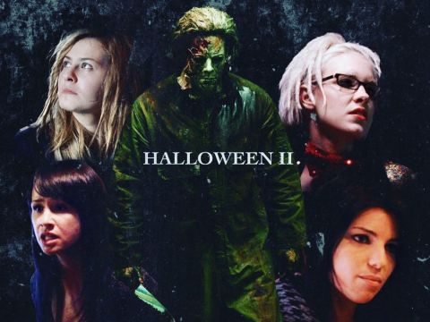 Halloween 2 poster with Angela Trimbur, Brea Grant, Danielle Harris and Scout-Taylor Compton