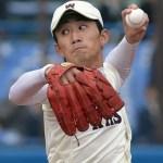 ウィルソンのグラブを使用している早稲田大学の小島投手!