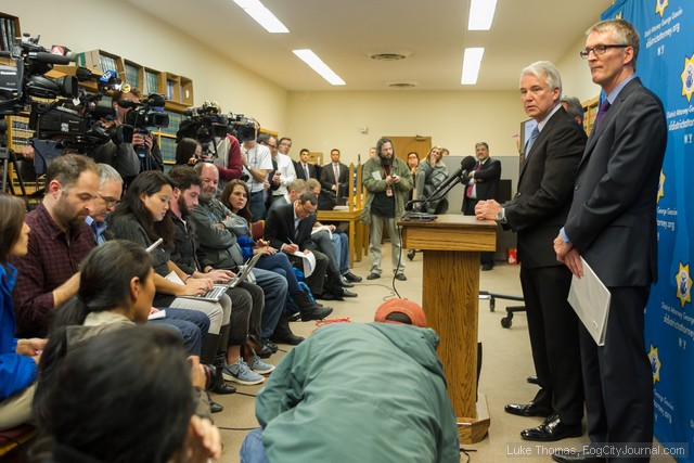 City Attorney George Gascon and FBI Special Agent David Johnson speak to a packed press conference