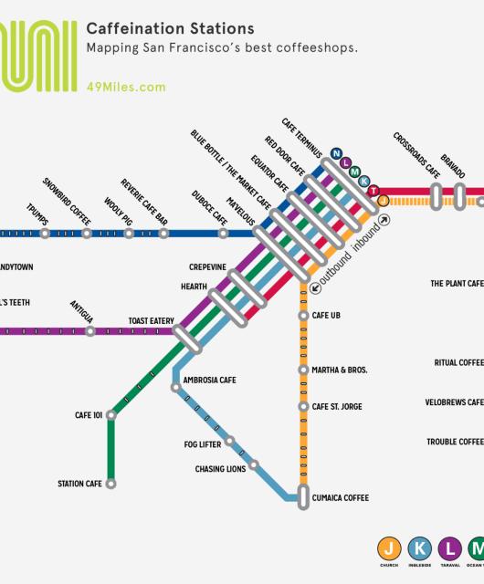 Muni Caffeination Stations Map –Mapping San Francisco's best coffeeshops.