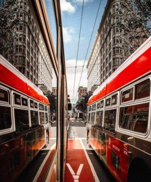 Taking the bus gives you plenty of time to reflect upon life. Photo: @beholdcreators.