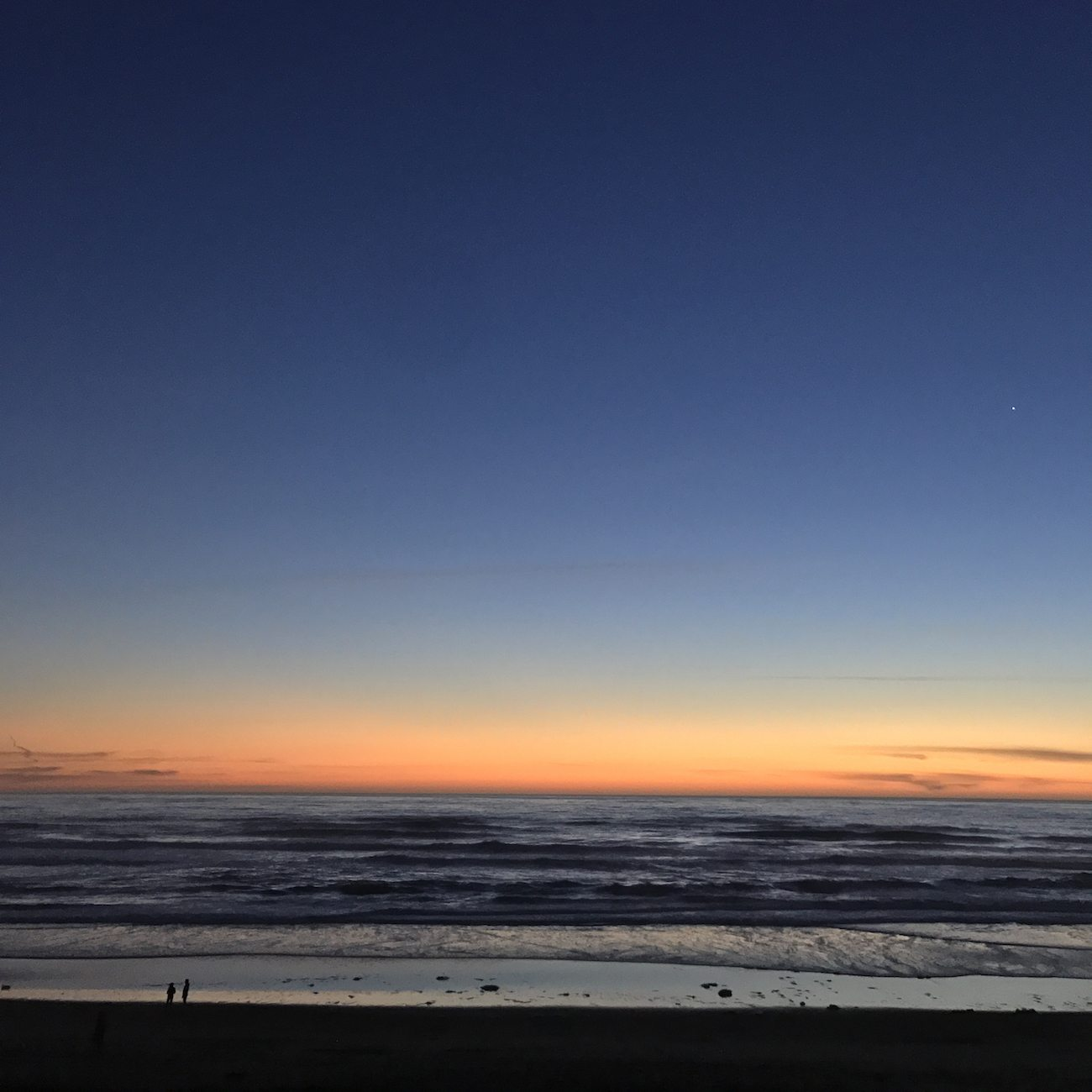 Sunset over Ocean Beach in San Francisco.