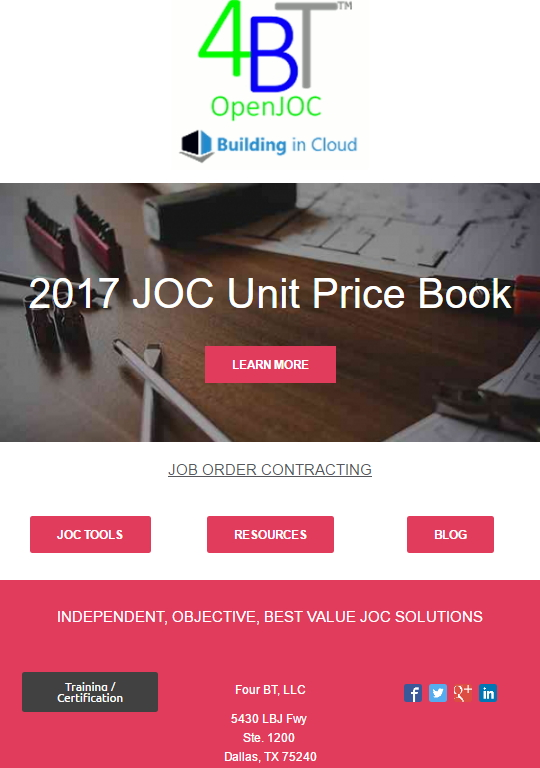 JOC Unit Price Book UPB
