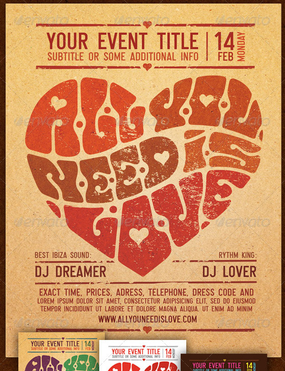 all you need is love valentines flyer