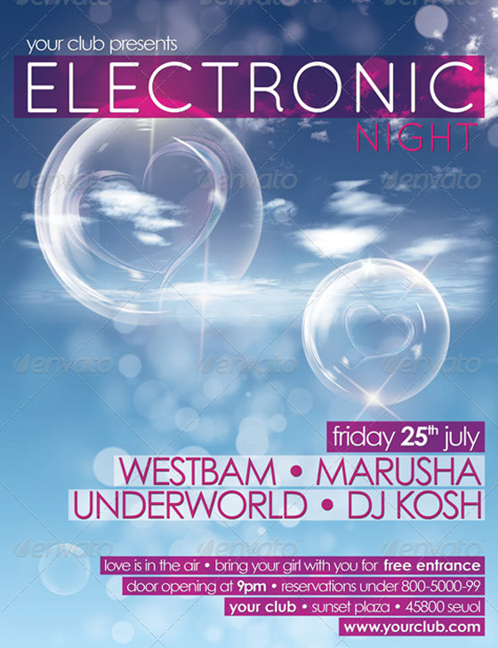 electronic night valentines flyer