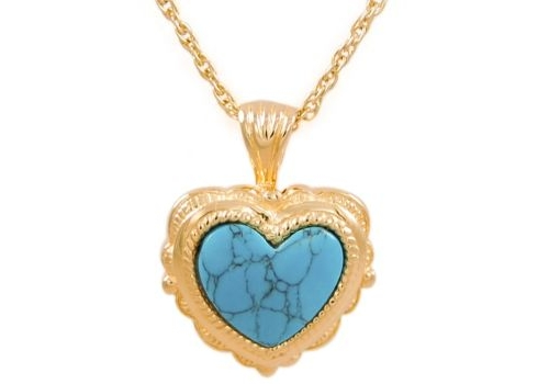 Heart With Turquoise Stone Gold Pendant