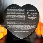 Rainbow Bridge Granite Heart Plaque