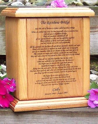 Rainbow Bridge Poem Pet Urn
