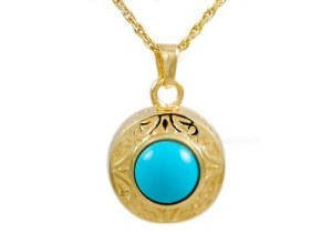 Gold Turquois Signet Pendant