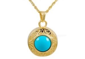 Gold Turquois Signet Pendant