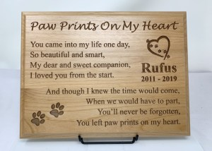 Paw Prints On My Heart Wooden Plaque