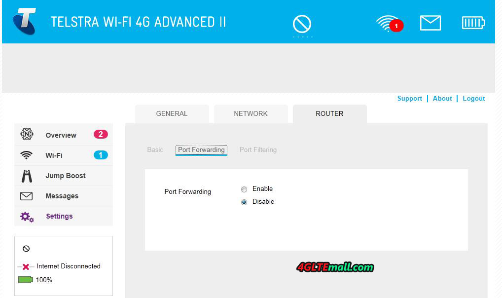 Aircard 790s-settings-router-port forwarding