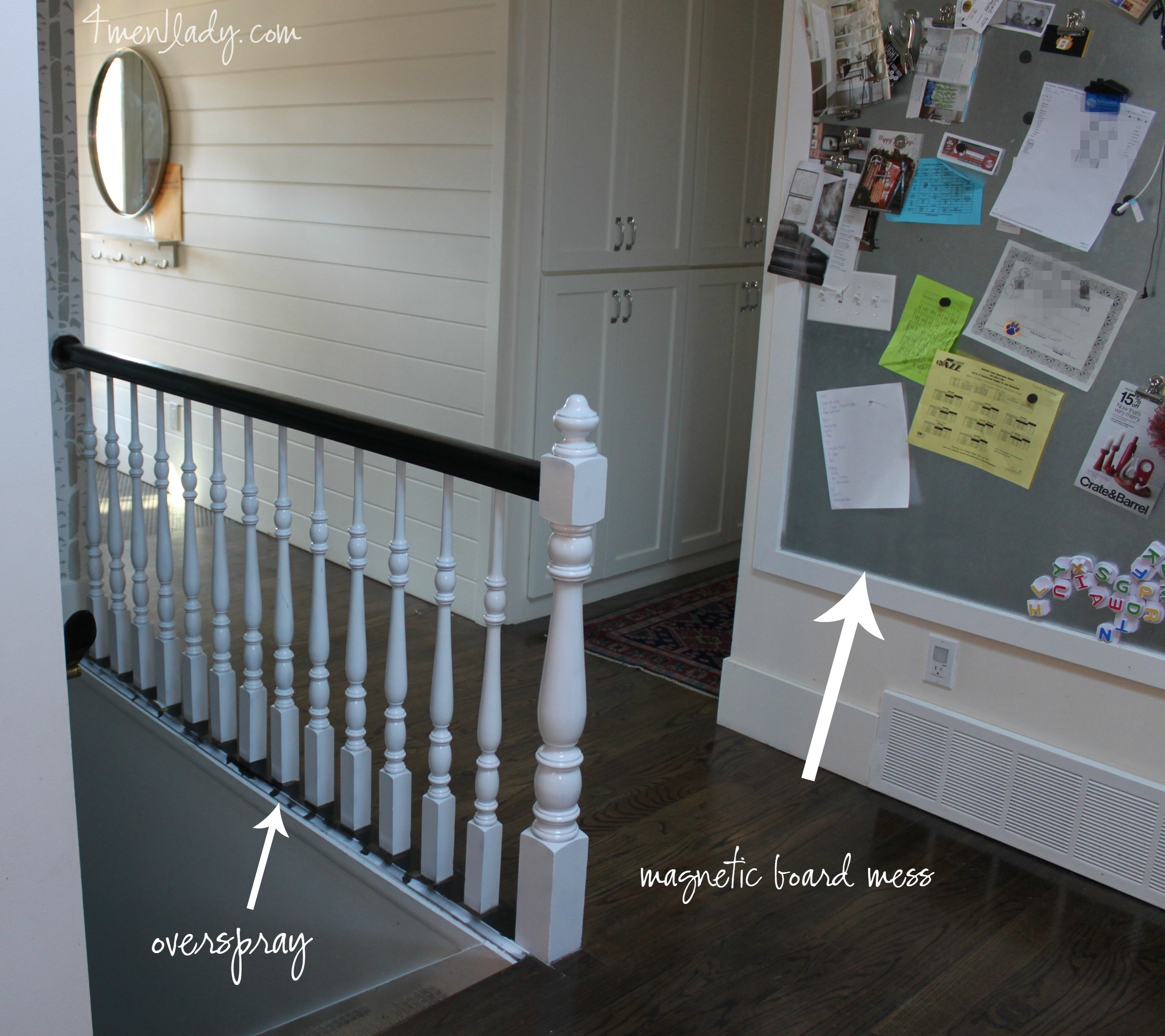 Painting The Stair Banister | Black Banister White Spindles | Black Railing | Wainscoting | White Painted Riser | Benjamin Moore Stair Railing | Baluster Curved Stylish Overview Stair