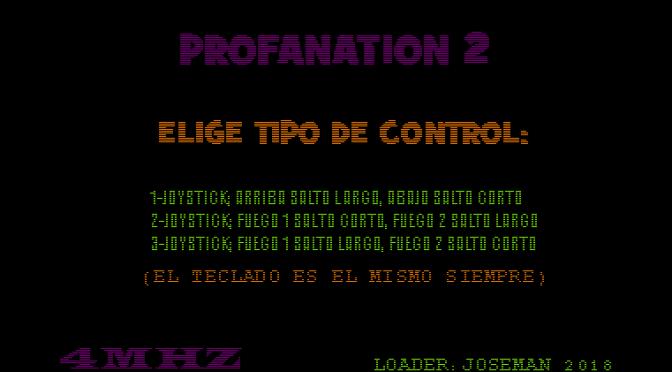Nueva versión de Profanation 2 con menú