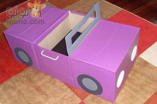 طريقة عـمل سيارة من الكرتون لطفلك