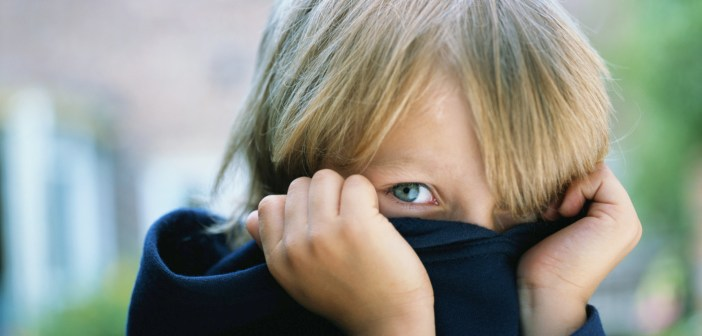 Boy (5-7) pulling sweater over face, portrait