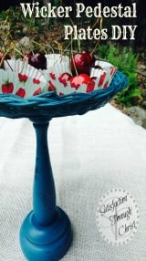 wicker pedestal plate DIY