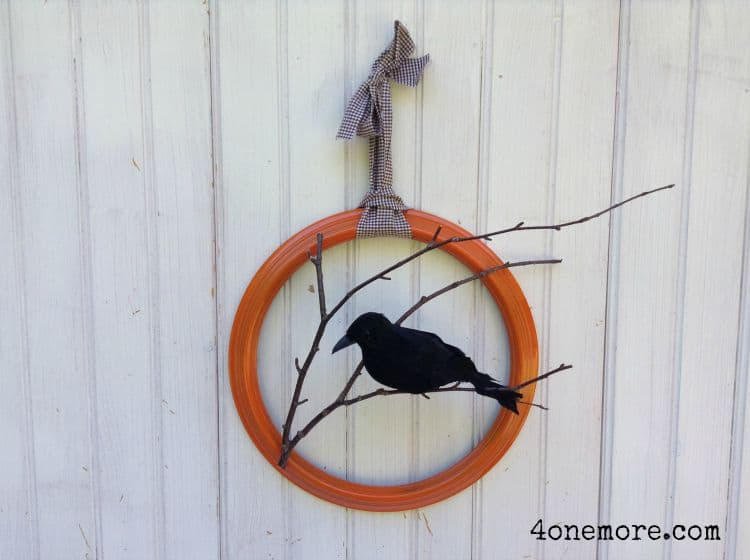 Nevermore Fall Raven Wreath Tutorial @ 4onemore.com