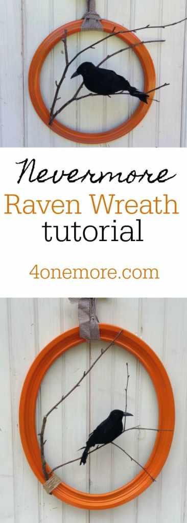nevermore raven wreath tutorial #halloween #poe #fallwreath @4onemoreDIY.com