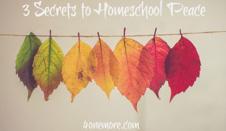 3 Secrets to Homeschool Peace