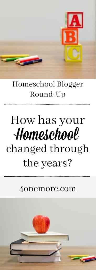 How has your homeschool changed through the years? Homeschool Blogger Round-Up 4onemore.com