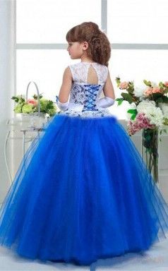 Ball Gown Illusion Red Kids Girls Dress CH0159