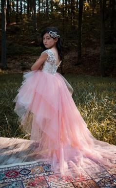 Jewel Short Sleeve Pale Pink Kids Prom Dresses CHK028
