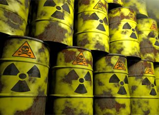 Viele Fässer von Atommüll