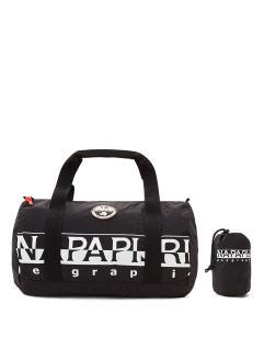 Schwarze Sporttasche mit Aufdruck