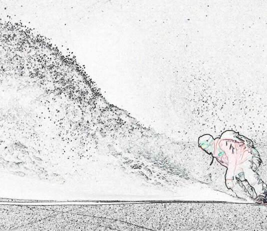 Snowboarder mit Schneewolke