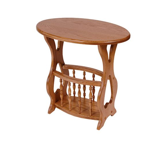 solid oak magazine rack end table oval top