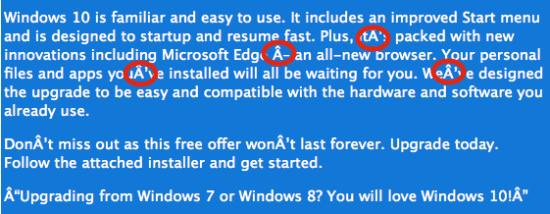 Exemplo erros grafia msg Windows 10