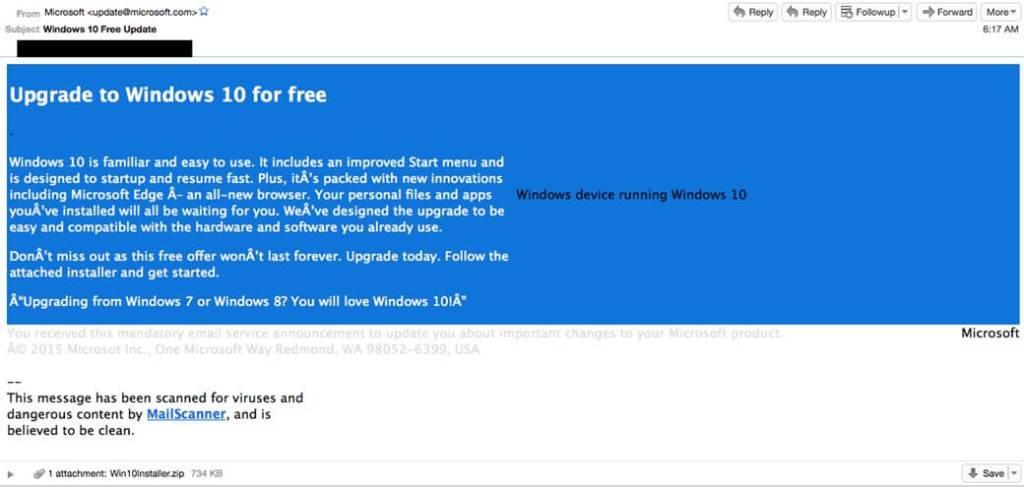 email com a falsa atualização do Windows 10