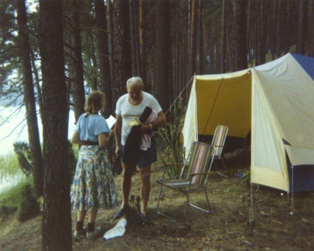 Cardinal Wojtyla and Anna-Teresa Tymieniecka on a camping trip in 1978