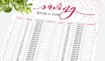 Save $2016 in 2016 With This Savings Tracker