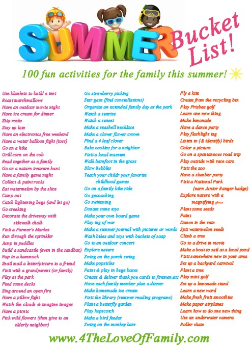 This is the best Family Summer Bucket List I've seen! Free Printable