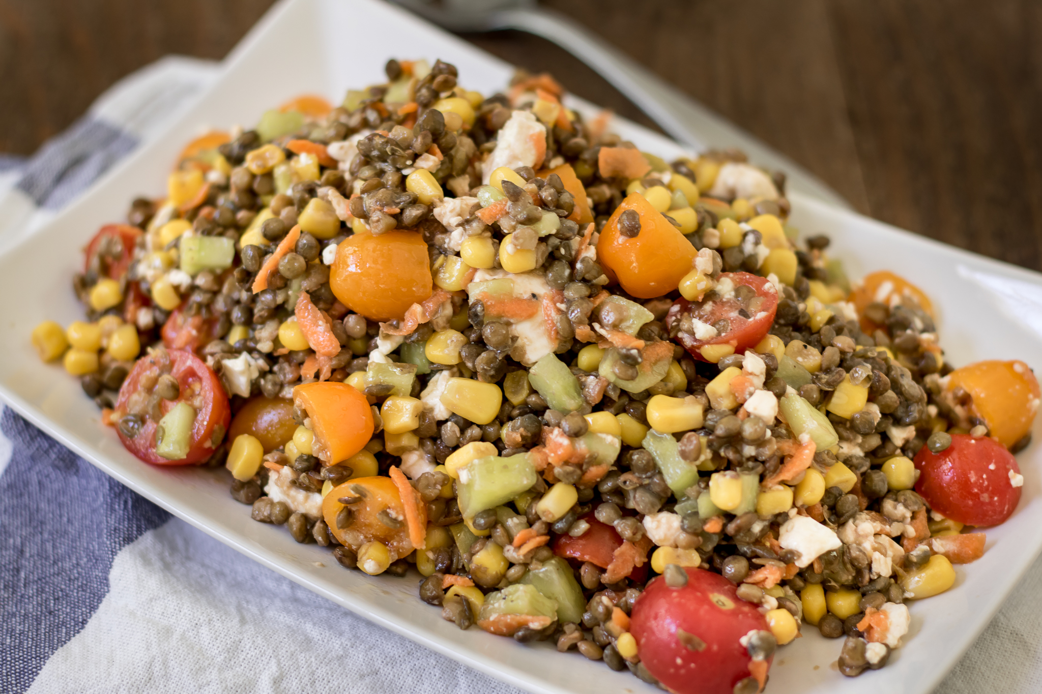 Easy, Delicious Corn & Lentil Salad Recipe