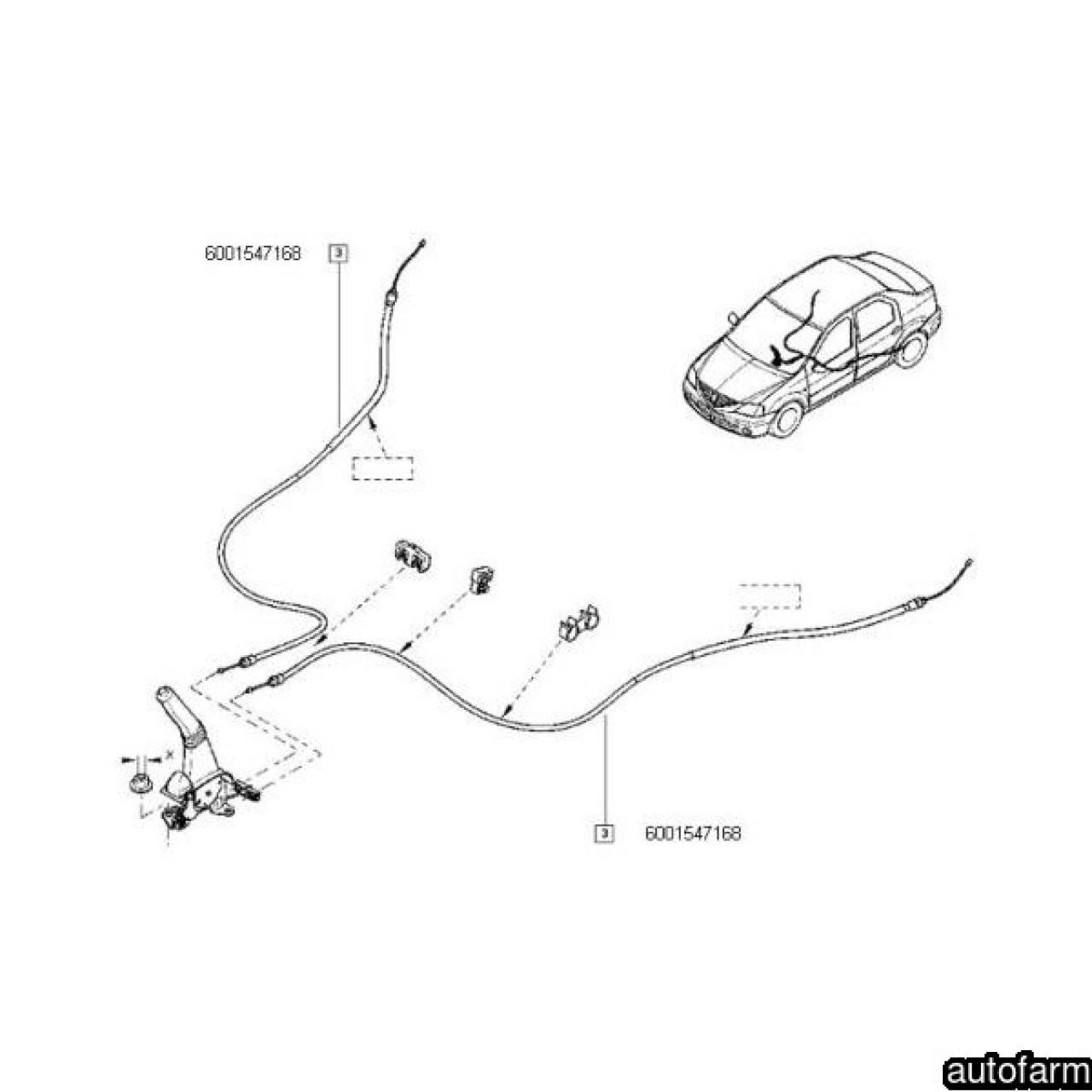 Cablu Frana Mana Logan Sandero Mm Ngh Autotechnik Ngh