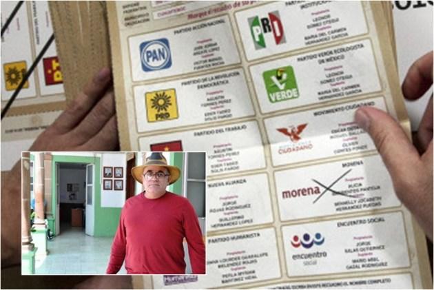 Boleta electoral con el nombre de uno de los candidatos de MORENA muerto antes del 7 de junio (Foto: redpolitica.mx).