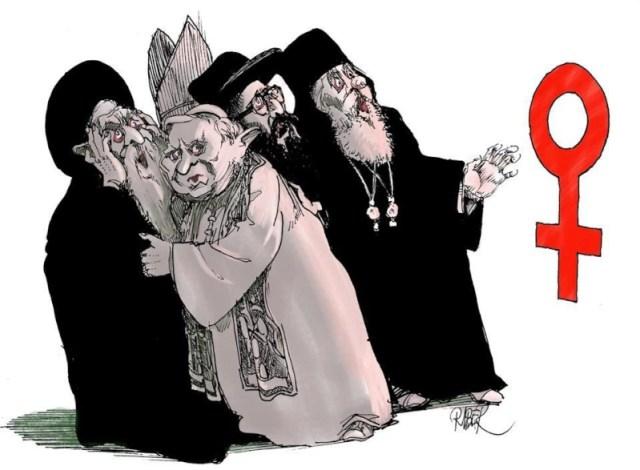 RELIGIONES ESPANTO SIGNO MUJER